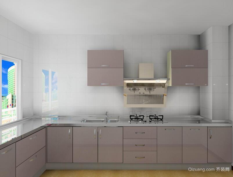 大户型现代欧式厨房不锈钢橱柜装修效果图