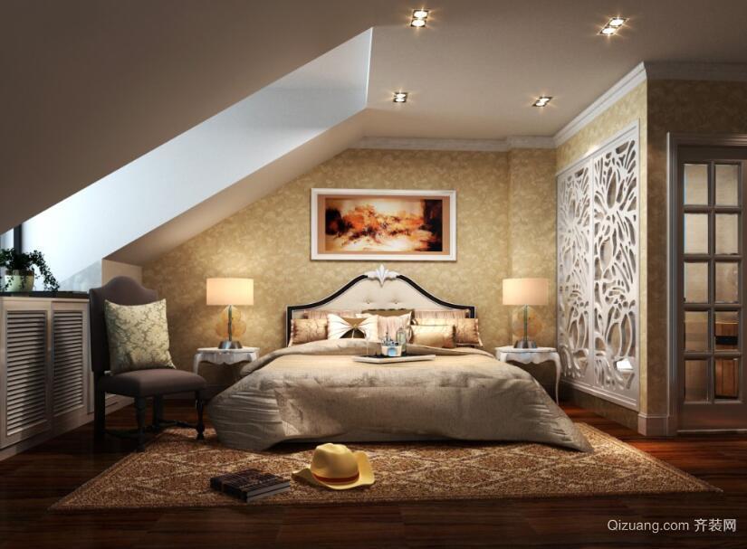100平米欧式风格房屋卧室背景墙装修效果图