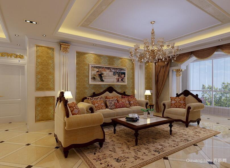 现代完美的小户型欧式沙发背景墙装修效果图