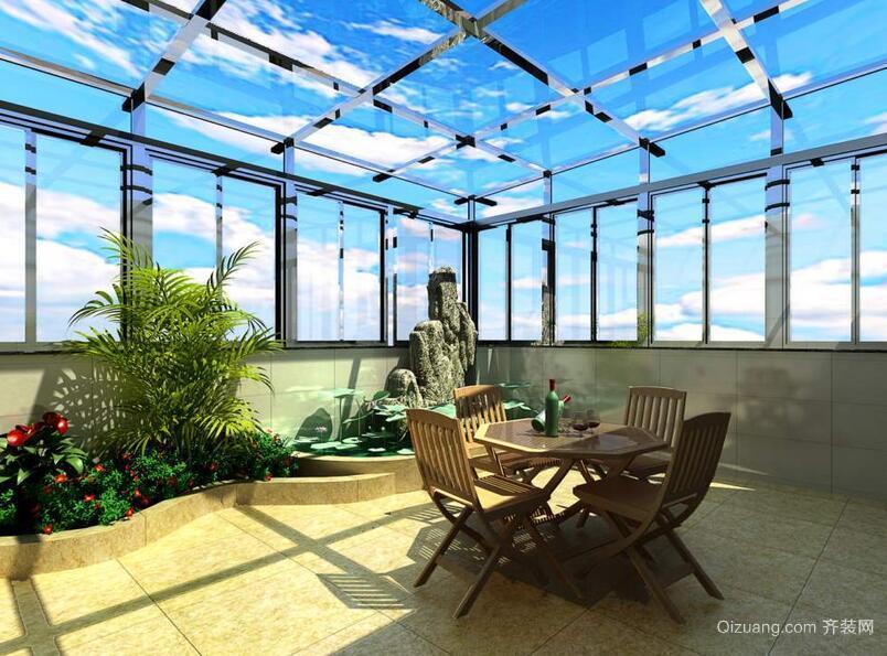 欧式别墅精致的阳光房装修效果图实例