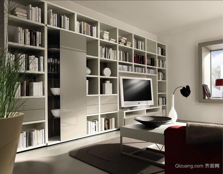 2016唯美的大户型现代书房书柜装修效果图