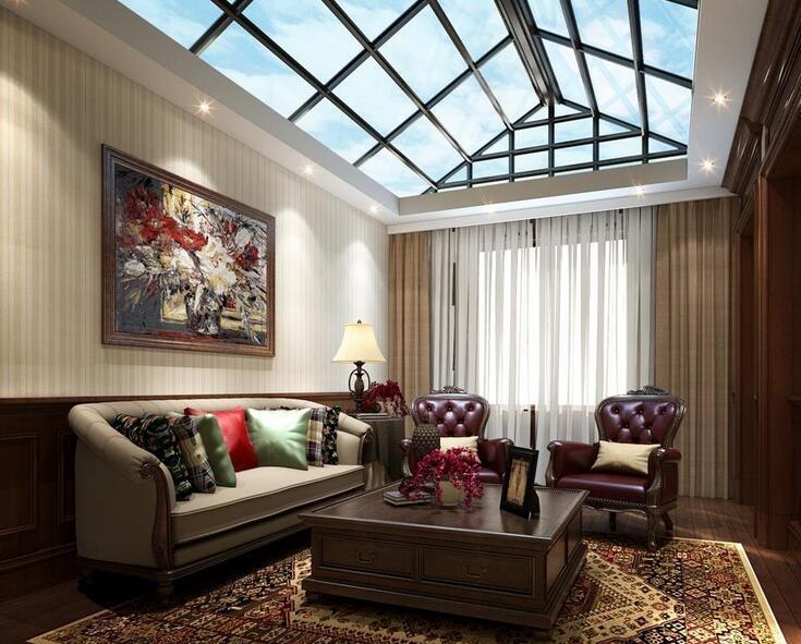 2016唯美的大户型欧式客厅窗帘装修效果图