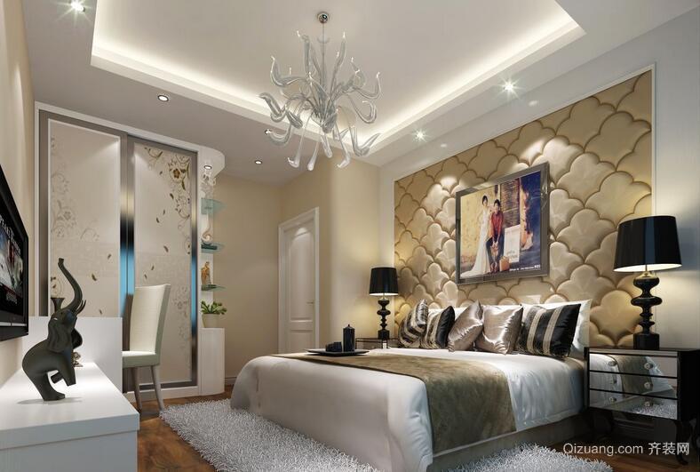 经典别墅型欧式卧室软包背景墙装修效果图