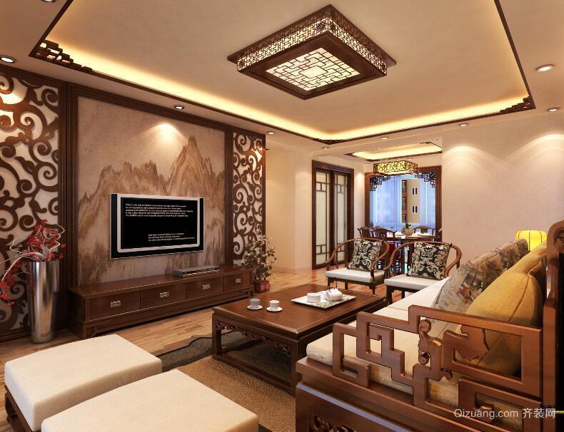 2016大户型精致中式新房客厅装修效果图