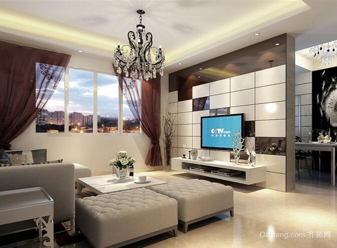 89平米大户型现代简约客厅电视背景墙装修效果图
