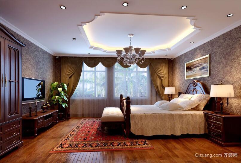 大户型美式装修风格样板房卧室背景墙装修效果图