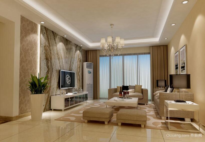 2016大户型唯美欧式客厅窗帘装修效果图