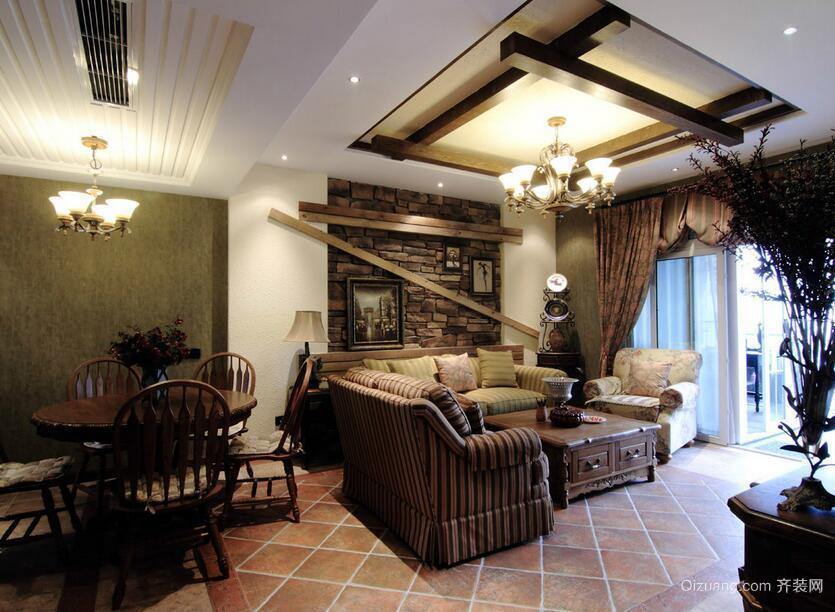 现代别墅型美式风格客厅装修效果图鉴赏