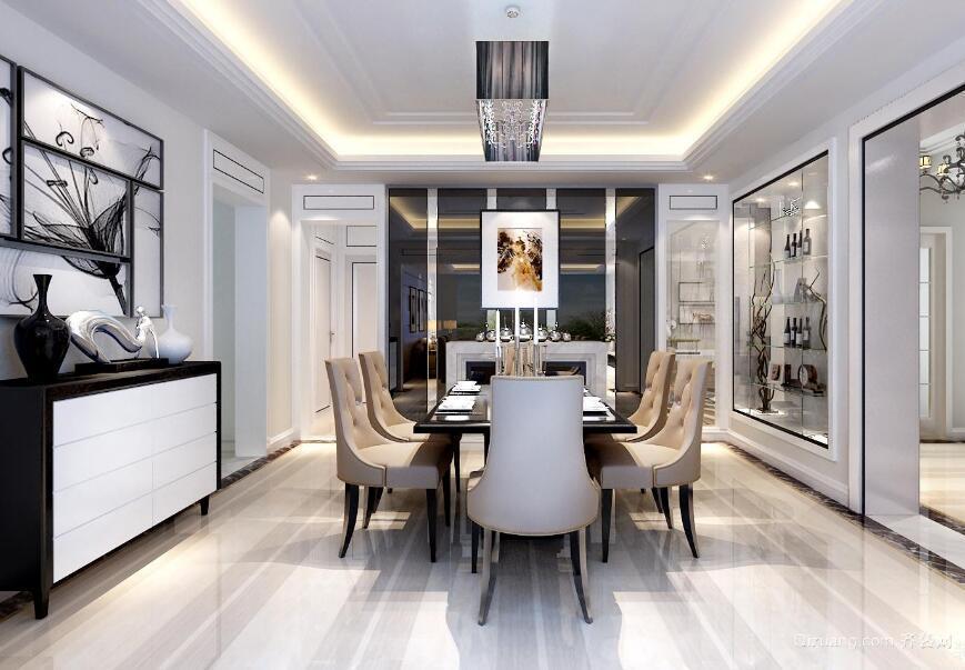 98平米大户型时尚简欧风格客厅装修效果图