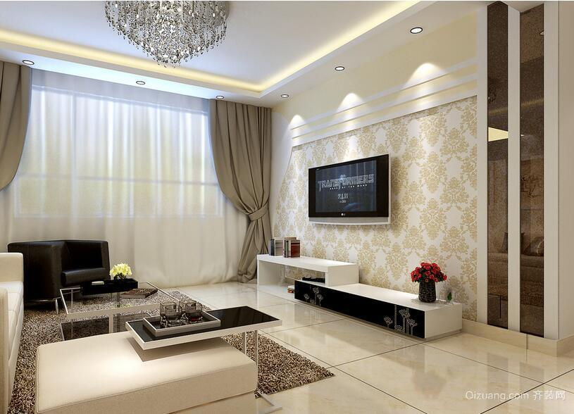 现代欧式小户型客厅电视背景墙装修效果图实例