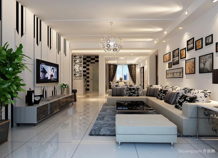 110平米舒心的欧式客厅背景墙装修效果图