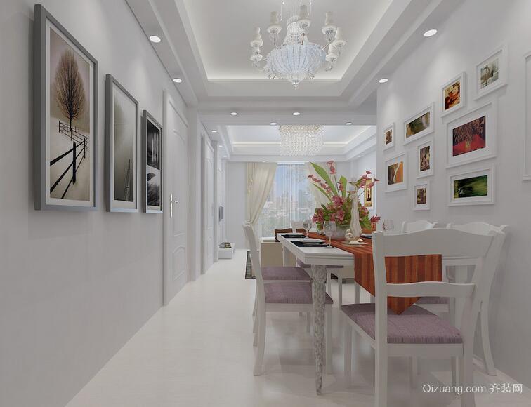 80平米大户型简欧风格餐厅背景墙装修效果图
