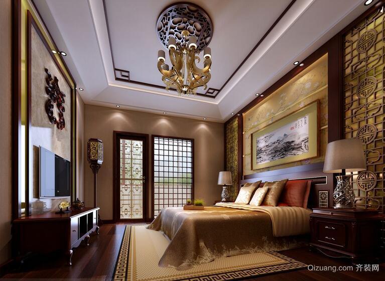 98平米别墅型中式卧室吊顶装修效果图鉴赏