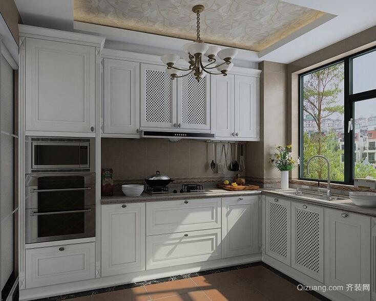 2016精致的欧式大户型厨房橱柜吊顶效果图
