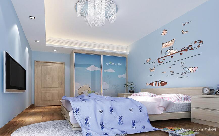 大户型精致的欧式儿童房背景墙装修效果图