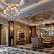 欧式精致的别墅客厅装修效果图实例