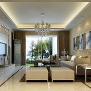 90平米大户型简欧风格客厅装修效果图