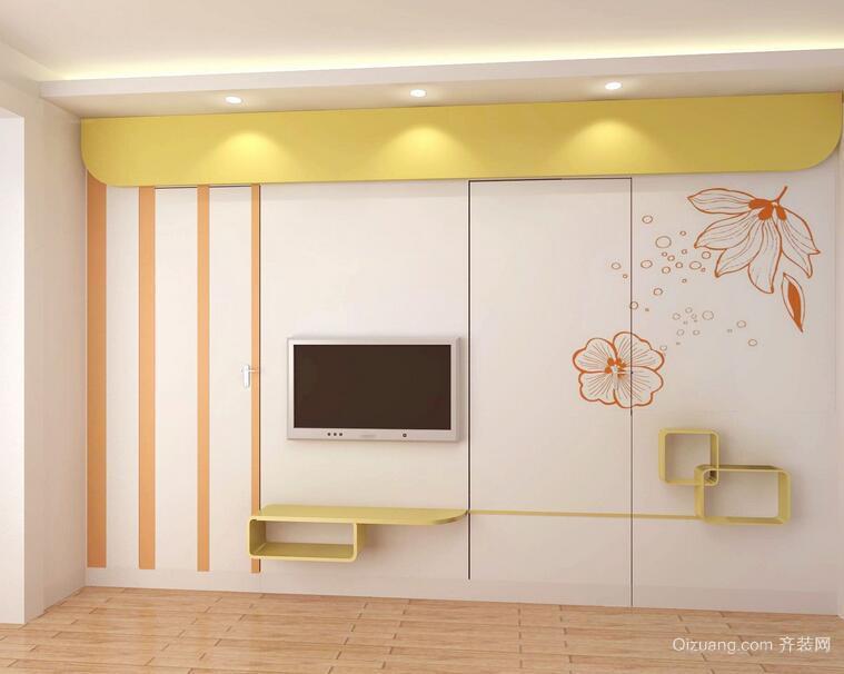 小户型现代简约客厅背景墙装修效果图实例