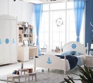 地中海风格大户型儿童房背景墙装修效果图