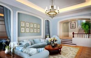 2016别墅型田园风格客厅背景墙装修效果图