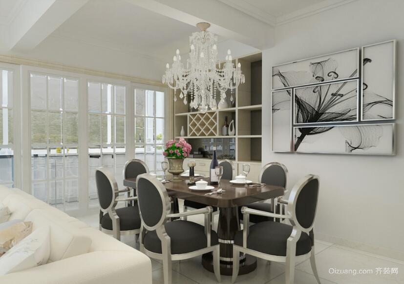欧式现代大户型家庭餐厅背景墙装修效果图