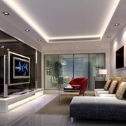 冷色调大户型简欧风格客厅装修效果图欣赏