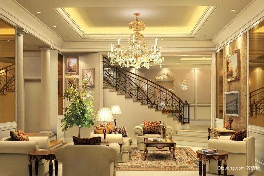 欧式风格别墅型室内吊顶装修效果图实例