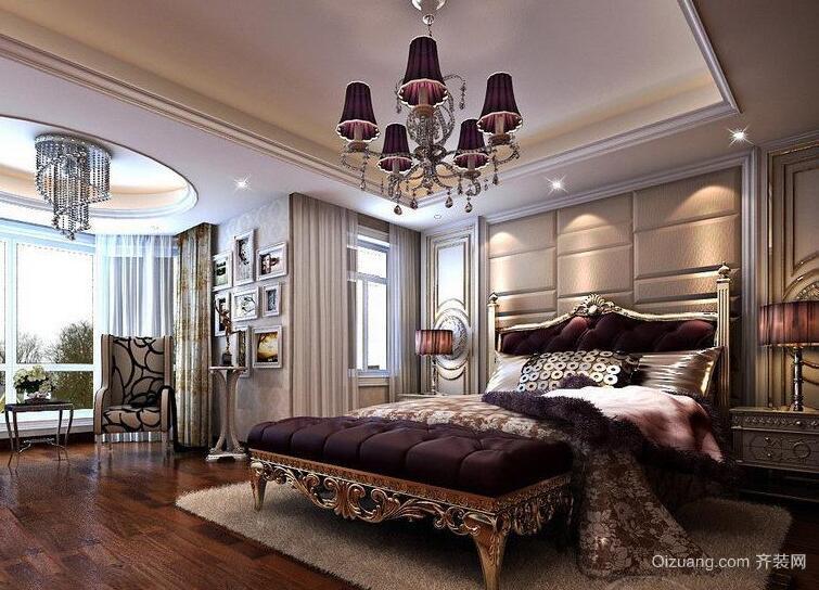 欧式风格别墅型唯美卧室背景墙装修效果图