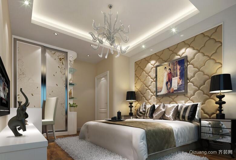 2016大户型欧式卧室软包背景墙装修效果图