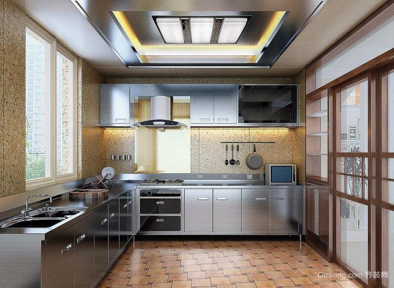 2016大户型欧式厨房不锈钢橱柜装修效果图