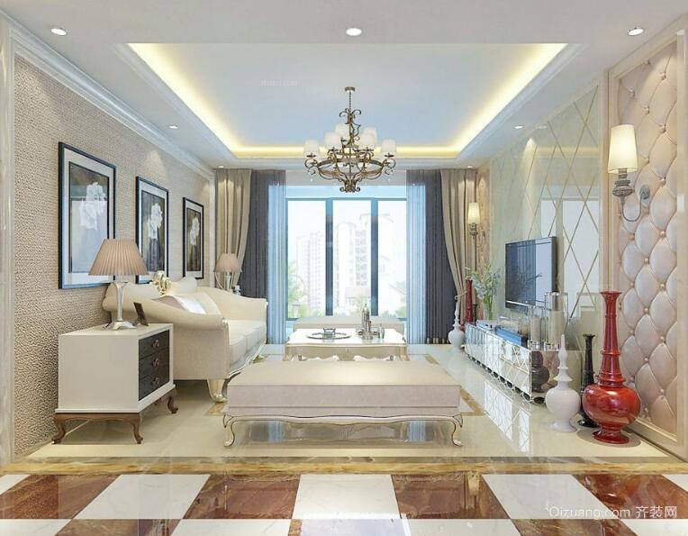 90平米大户型欧式客厅沙发背景墙装修效果图