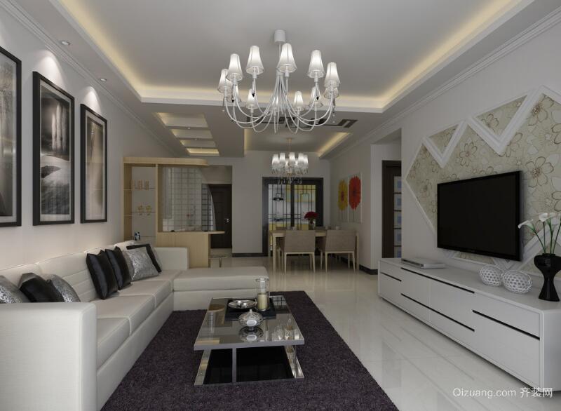 简欧风格大户型客厅吊顶装修效果图实例