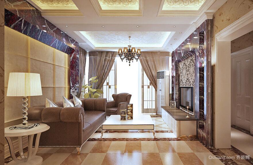 100平米别墅型欧式客厅电视背景墙装修效果图