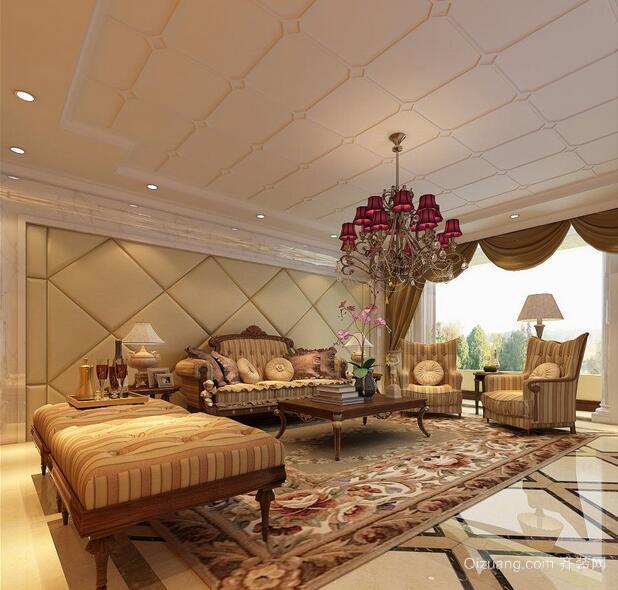 99平米大户型高雅欧式客厅吊顶装修效果图
