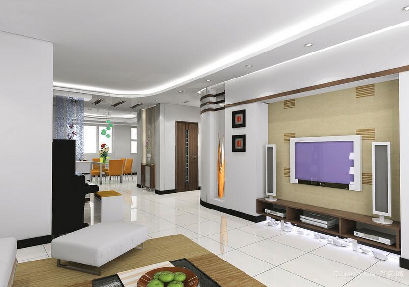 现代简约风格大户型室内电视墙背景装修效果图