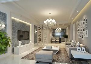 90平米大户型现代简约客厅背景墙装修效果图