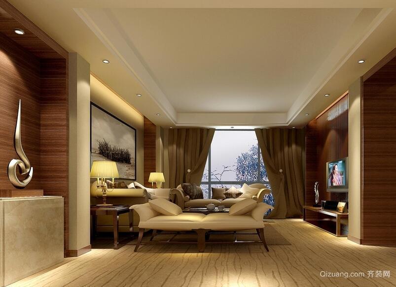 别墅型精致的欧式客厅吊顶装修效果图鉴赏