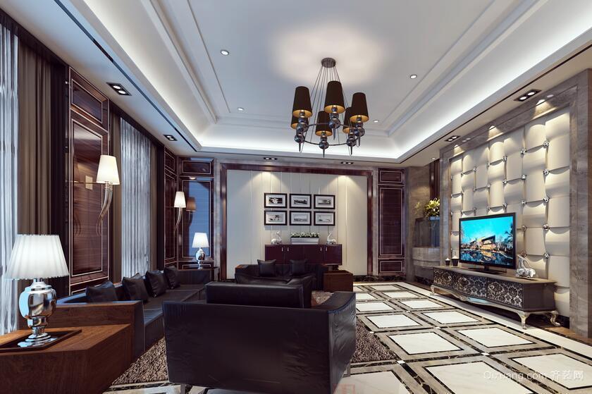 完美的别墅型欧式客厅背景墙装修效果图鉴赏
