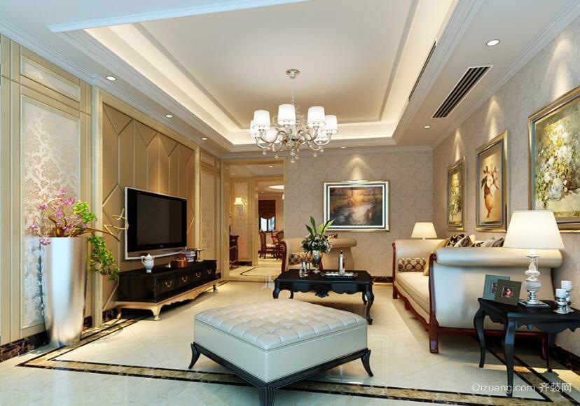 精美的别墅型欧式客厅背景墙装修效果图