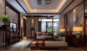 80平米大户型中式客厅吊顶装修效果图