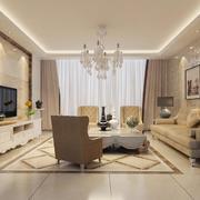 89平米大户型简欧风格客厅装修效果图