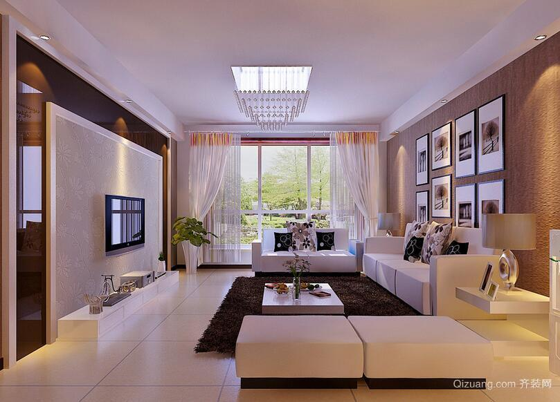 经典都市别墅现代简约客厅吊顶装修效果图