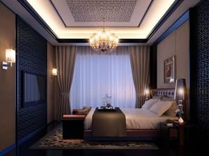 100平米大户型精致的中式卧室背景墙装修效果图