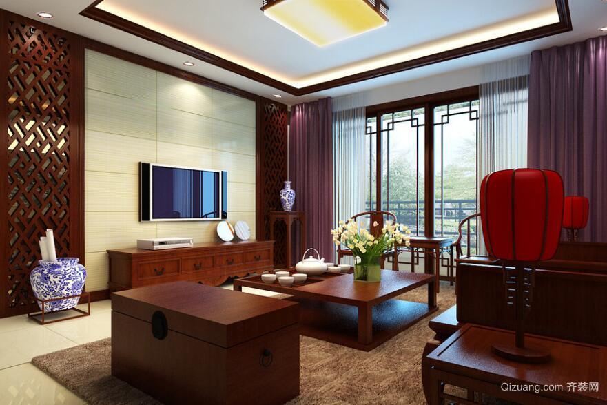 100平米别墅型中式客厅电视背景墙装修效果图
