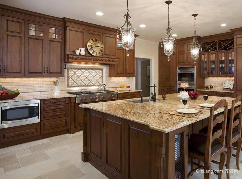 美式装修风格样板房厨房吊顶装修效果图实例