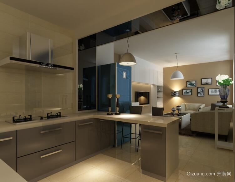 欧式风格大户型开放式厨房吊顶装修效果图