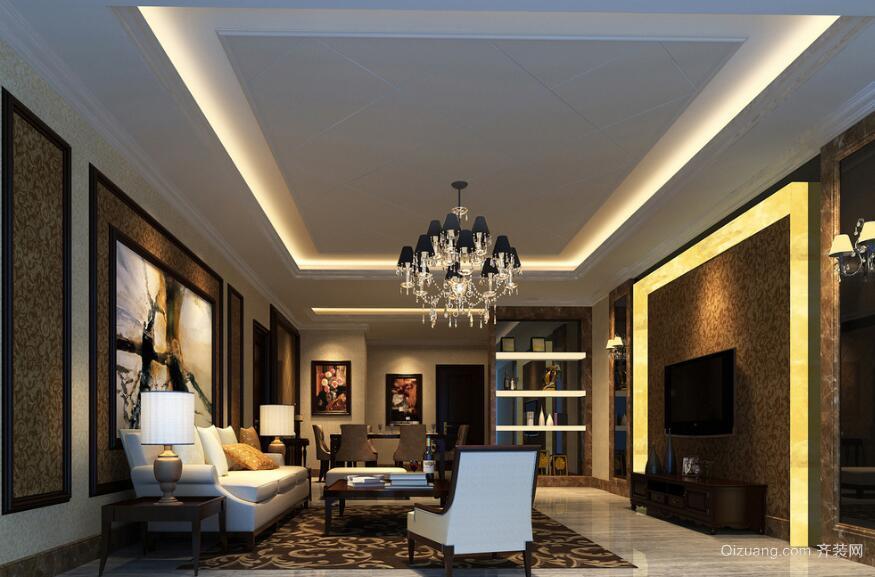 2016别墅欧式风格客厅装修效果图实例欣赏