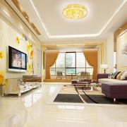 90平米欧式精致的客厅电视背景墙装修效果图