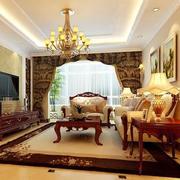 90平米大户型时尚欧式客厅装修效果图欣赏