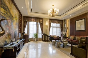 精致独特的别墅中式客厅背景墙装修效果图